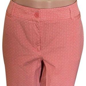 Coral/White Printed Cotton Blend Capri Pants